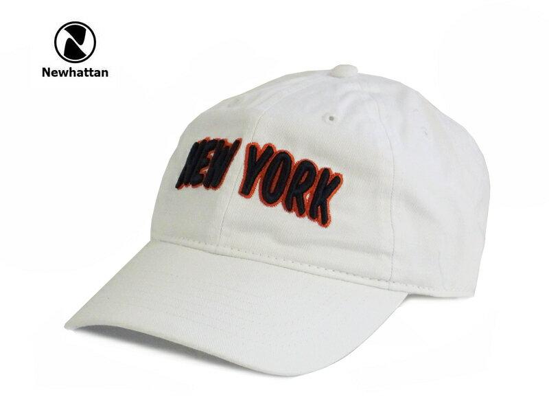 ☆NEWHATTAN【ニューハッタン】COTTON STONE WASH- NEWYORK LOGO WHITE コットン ストーンウォッシュド キャップ ホワイト 13512 [2015 メンズ レディース] P25Apr15