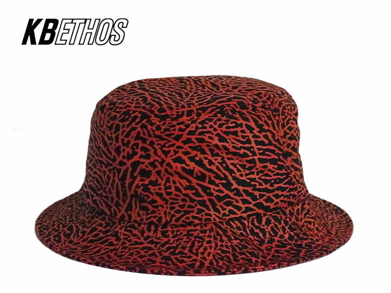 ☆KB ETHOS【ケービー エソス】Elephant Skin BUCKET HAT BLACK/RED エレファントスキン バケットハット ブラック/レッド 13236 [定番人気 メンズ レディース 柄 メール便対応]【メール便対応】 10P05Sep15