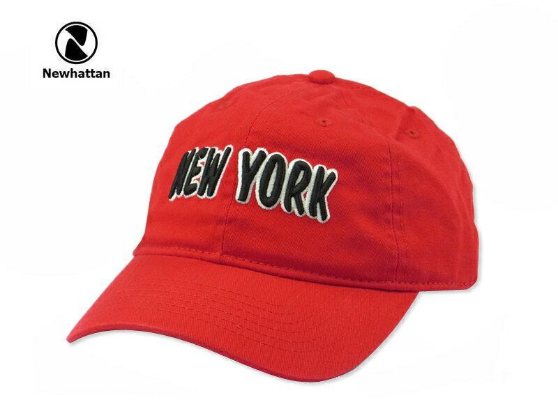 ☆NEWHATTAN【ニューハッタン】COTTON STONE WASH- NEWYORK LOGO REDY コットン ストーンウォッシュド キャップ レッド 13512 [2015 メンズ レディース] 10P07Nov15