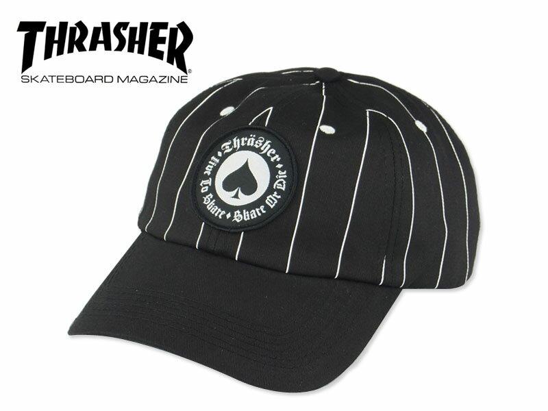 ☆THRASHER【スラッシャー】OATH PINSTRIPE SNAPBACK BLACK ピンストライプ キャップ ブラック 14866 [スケボー スナップバック メンズ レディース] 10P21Feb15