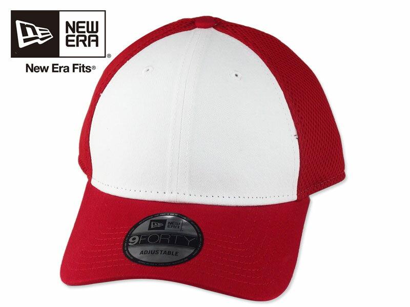 ☆NEWERA【ニューエラ】9FORTY Contrast Front Mesh-NE204 WHITE/RED コントラスト フロントメッシュキャップ ホワイト/レッド 15244 [無地 シンプル メンズ レディース]