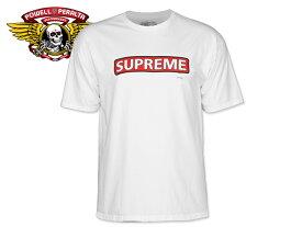☆POWELL PERALTA【パウエル・ペラルタ】Supreme T-SHIRTS WHITE シュプリーム Tシャツ ホワイト 17629 [半袖 SKATE SK8 スケボー SUPREME]10P30Nov14