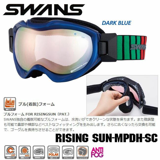 今だけマルチレンズクリーナープレゼント【RISING SUN-MPDH-SC】SWANS スノーゴーグルブル(着脱)フォーム 偏光レンズ ダブルレンズ超撥水レンズ 成型球面レンズ ヘルメット対応 05P30Nov13