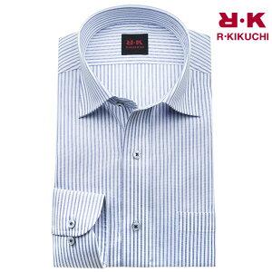 ワイシャツ メンズ 長袖 形態安定 ブルー ストライプ ワイドカラー シャツ yシャツ カッターシャツ ドレスシャツ ビジネスシャツ ビジネス シャツ R・KIKUCHI 新生活 50par