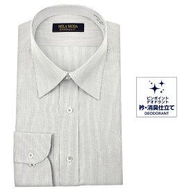 送料無料 ワイシャツ メンズ 長袖 形態安定 レギュラーカラー ドレスシャツ Yシャツ カッターシャツ ビジネスシャツ ビジネス シャツ グレー 標準体 MILA MODA 新生活 20par