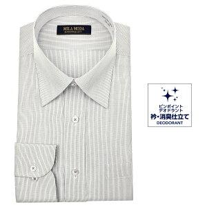 送料無料 ワイシャツ メンズ 長袖 形態安定 レギュラーカラー ドレスシャツ Yシャツ カッターシャツ ビジネスシャツ ビジネス シャツ グレー 標準体 MILA MODA 新生活