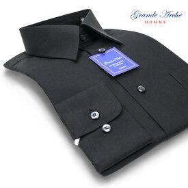 ワイシャツ 長袖 形態安定 メンズ レギュラーカラー ブラックシャツ ドレスシャツ シャツ Yシャツ カッターシャツ わいしゃつ おしゃれ パーティー 社交ダンス 発表会 衣装 黒シャツ 黒 男性 GRANDE ARCHE 新生活 父の日 20par