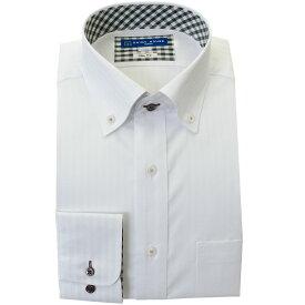 ワイシャツ 形態安定 S M L LL 2L 長袖 2020秋冬 新作 白 ドビー ボタンダウン スリム 細身 オフィスカジュアル シャツハウス メンズ ドレスシャツ