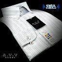 【a.v.v】形態安定・スリムフィットマルチストライプ・ボタンダウンシャツ(長袖ワイシャツ/メンズワイシャツ/Yシャツ…