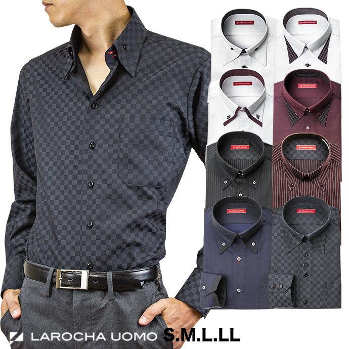 ワイシャツ メンズ 長袖 形態安定 ドレスシャツ Yシャツ カッターシャツ ビジネスシャツ ビジネス シャツ わいしゃつ ボタンダウン ドゥエボットーニ マイターカラー ブラック レッド ホワイト ネイビー