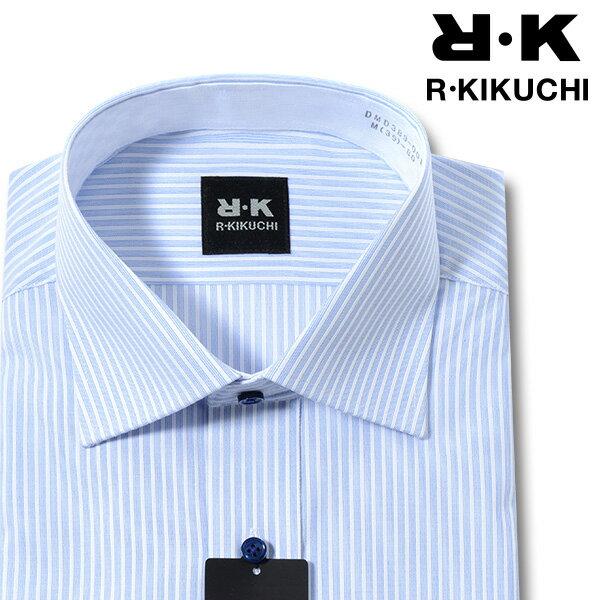 【R KIKUCHI】形態安定 スリム ロンドンストライプ ワイドカラー メンズワイシャツ(ワイシャツ yシャツドレスシャツ ビジネスシャツ M L LL トールサイズ ビジネス メンズ 男性 長袖 ブルー 青)2018rd0111