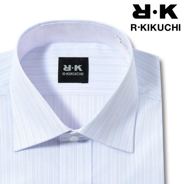 【R KIKUCHI】形態安定 スリム ブルーストライプ ワイドカラー メンズワイシャツ(ワイシャツ yシャツドレスシャツ ビジネスシャツ M L LL トールサイズ ビジネス メンズ 男性 長袖 パープル ラベンダー 紫 他色)20170922