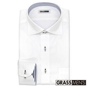 ワイシャツ メンズ 長袖 形態安定 ワイドカラー ドビー ドレスシャツ Yシャツ カッターシャツ ビジネスシャツ ビジネス シャツ 白 標準体