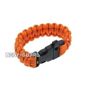 ホイッスル付き パラコードブレスレット オレンジ アウトドア ロープ 紐 パラシュートコード サバイバル 多機能 腕輪 釣り キャンプ 防災 ミリタリー ファッション 緊急時 役立つ ホイッス