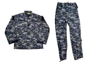 【送料無料】BWOLF製 迷彩服 戦闘服 ジャケット&パンツ 上下セット NWU迷彩 米海軍 US Navy ネイビー ピクセルブルー デジタルブルー