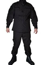 【送料無料】ブラック 迷彩服II ボタン SWAT仕様 特殊火器戦術部隊 戦闘服 上下セット パンツ&ジャケットセット