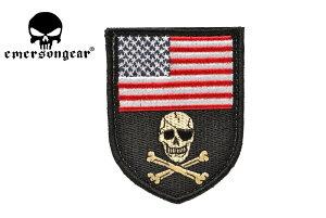 【送料無料】EMERSON製 布製 盾型 アメリカ国旗 & クロスボーンスカル ベルクロ付き ワッペン パッチ 下地黒色 柄RBW