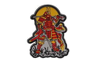 【送料無料】布製 鎧の武士 ミリタリー ワッペン パッチ ミリパチ サバゲー ベルクロ付き (赤)