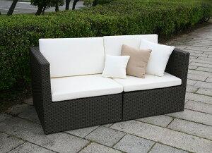 【ガーデンソファ・屋外家具】ラタン 2人掛けソファ
