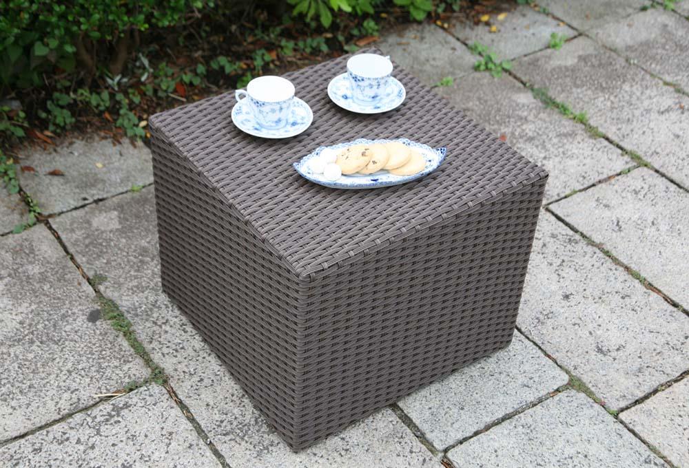 【ガーデンテーブル・屋外家具】ラタン サイドテーブル キューブ ダークブラウン