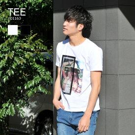 tシャツ メンズ 半袖 白 黒 プリント ストレッチ 3D 写真 ホワイト ブラック M L XL 2L 春 夏 EVOLUTION エボリューション エイチケー hk 01163