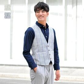 ベスト メンズ ジレ セットアップ 春夏秋 綿麻 リネン ノースリーブ 韓国系 韓国ファッション ベージュ ネイビー ストライプ 麻 M L XL LL 2L エボリューション evolution 01195