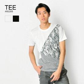 tシャツ メンズ 半袖 織柄 迷彩 白 黒 M L XL クルーネック ホワイト ブラック 幾何学 カモフラ ブロッキング ティーシャツ カットソー EVOLUTION エボリューション hk エイチケー 81205