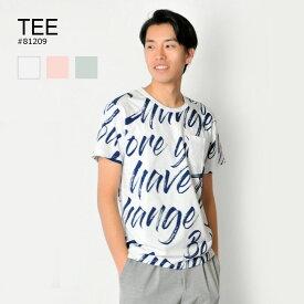 【メール便可(単品購入時)】tシャツ メンズ 半袖 プリント 総柄 白 M L XL クルーネック ホワイト ピンク ミント グリーン 英字 ロゴ ティーシャツ カットソー EVOLUTION エボリューション hk エイチケー 81209