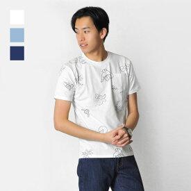 tシャツ メンズ 半袖 ポケット プリント 白 青 紺 M L XL クルーネック ホワイト ブルー ネイビー ヤシ スラブ ティーシャツ カットソー EVOLUTION エボリューション hk エイチケー 91160