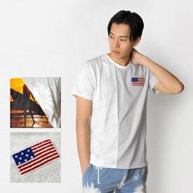 【メール便可(単品購入時)】EVOLUTION エボリューション Tシャツ メンズ 半袖 切り替え 春夏秋 サーフ系 アメリカ国旗 星条旗 サガラ刺繍 グレー ピンク ネイビー M L XL LL 2L 91162