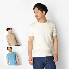 【メール便可(単品購入時)】EVOLUTION エボリューション Tシャツ メンズ 半袖Tシャツ ニット切替 星条旗柄 ボーダー 星柄 春夏秋 オフホワイト ベージュ サックスブルー 白 青 M L XL LL 2L 91194