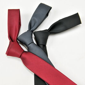 ネクタイ メンズ ナロータイ 結婚式 二次会 成人式 絹100% シルク 細身 無地 グレー レッド ブラック hk エイチケー