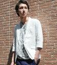 サマージャケット リネン混 ジャケット 夏 メンズ 綿麻で涼しげな7分袖ジャケットスタイル リネン 無地 テーラードジャケット ホワイト ベージュ カーキ ネイビー 61115