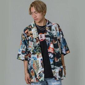 RE730 セブンサーティー 総柄オープンカラーシャツ モード系 ストリート系 ダンス系 韓国ファッション 韓国スタイル メンズ 春 夏 カラー モノトーン M L XL 2L LL 92149 hk エイチケー