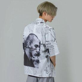 RE730 セブンサーティー 総柄オープンカラービッグシャツ モード系 ストリート系 ダンス系 韓国ファッション 韓国スタイル メンズ 春夏 ホワイト ブラック 白 黒 M L XL 2L LL 92150 hk エイチケー