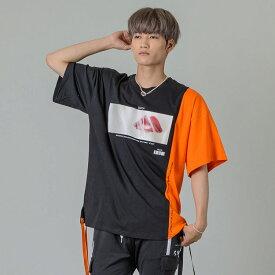 RE730 セブンサーティー アシンメトリー切り替えビッグTシャツ ストリート系 ダンス系 韓国ファッション 韓国スタイル メンズ 春夏 ホワイト ブラック オレンジ M L 92161 hk エイチケー