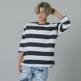 tシャツ メンズ 半袖 8分袖 ボーダー 白 黒 M L XL ビッグシルエット ダンス ヒップホップ ホワイト ブラック ドロップショルダー ビッグTシャツ 韓国ファッション RE730 セブンサーティー hk エイチケー 92163