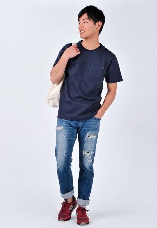 Sacroサークロポケット付Tシャツメンズ春夏秋クルーネック半袖無地大きいサイズホワイトグレーネイビーML2LXLLL3LXXL18117