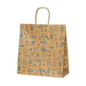 T-6 自動紐手提袋 紙袋 紙丸紐タイプ 320×110×330mm 200枚 ベアコレクション(ブルー) 1651おすすめ 送料無料 誕生日 便利雑貨 日用品
