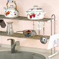 キッチン収納TAKUBOタクボ水切棚シリーズ置きタイプ伸縮置棚2段幅52〜91cmお買得セットPP2-90LK