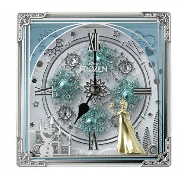 お役立ちグッズ リズム時計 キャラクタークロック からくり置時計/アナと雪の女王 03白(白) 4RH784MA03
