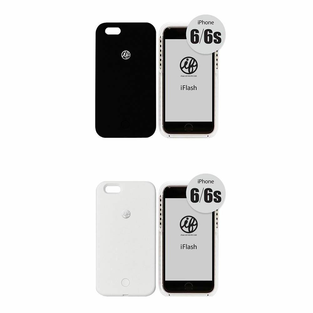 お役立ちグッズ PC 携帯 関連商品 iFlash for iPhone 6/6s セルフィーライト付きスマホケース ブラック