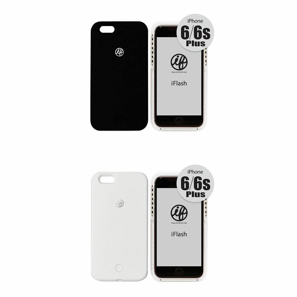 お役立ちグッズ PC 携帯 関連商品 iFlash for iPhone 6 Plus/6s Plus セルフィーライト付きスマホケース ブラック