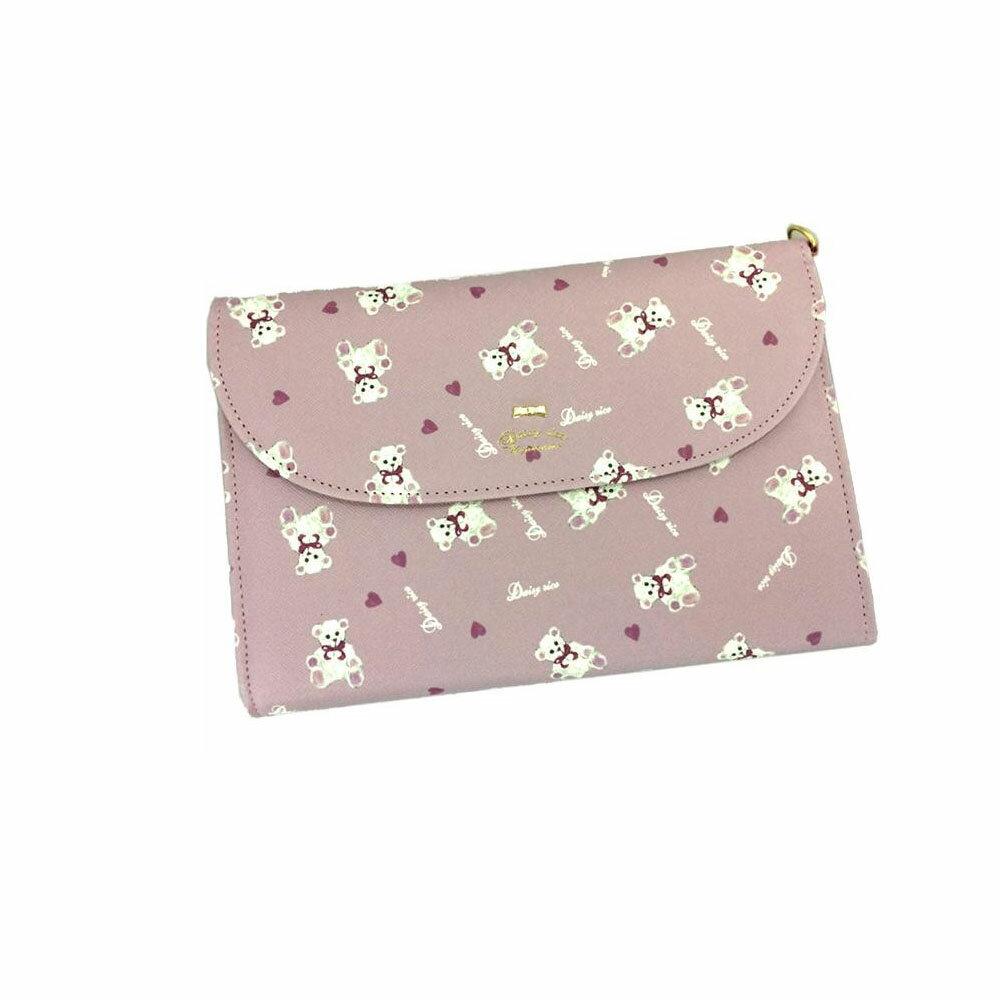 化粧品関連商品 ポケットたっぷり! DaisyRico デイジーリコ ホワイトベアシリーズ マルチケース DR6-21 ピンク
