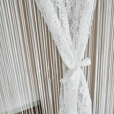 敷物 カーテン 関連商品 上品レースとひもをあわせた2重のれん 約85cm巾×150cm丈 ホワイト