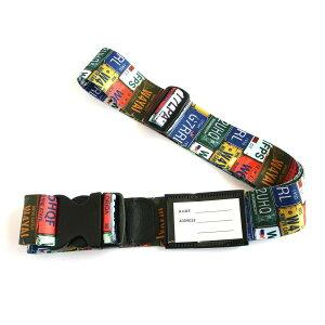スーツケースベルト ワンタッチベルト ナンバープレート柄オススメ 送料無料 生活 雑貨 通販