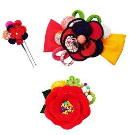 生活 雑貨 通販 レトロポップな和風髪飾りセット (コーム2点・Uピン) 224-056 アカ