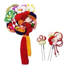 生活 雑貨 通販 レトロポップな和風髪飾りセット (コーム・Uピン2本) 224-057 アカ