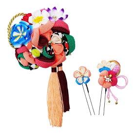 トレンド 雑貨 おしゃれ レトロポップな和風髪飾りセット (コーム・Uピン2本) 224-057 サーモン