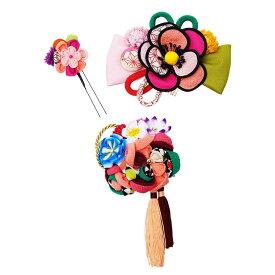生活 雑貨 通販 レトロポップな和風髪飾りセット (コーム2点・Uピン) 224-031 サーモン